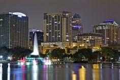 Downtown Orlando at night.
