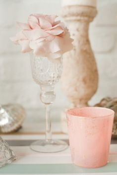 place #setting with glassware and flower in Pastels