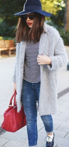 Stripes and red handbag