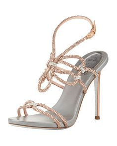 Crystal High-Heel Ankle-Wrap Sandal, Rose Gold/Silver by Rene Caovilla at Bergdorf Goodman.