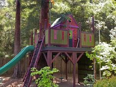 Treehouse and slide