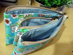 Three zipper pouches, together