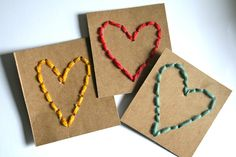 A little like sewing cards, Red Bird Crafts has a nice tutorial on how to make these stitched heart Valentines that are perfect for kids learning how to sew. Valentine Day Crafts, Be My Valentine, Holiday Crafts, Homemade Valentines, Bird Crafts, Paper Crafts, Crafts For Kids, Arts And Crafts, Heart Projects