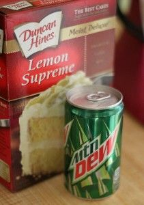 My dad loves mountain dew so i think he w poo held love this! Mountain Dew Cake-My 7 Up Cake is scratch but I will try this box cake in the near future. I rarely purchase lemon cake mix though; I'll just add lemon extract to a white cake I already have. Mountain Dew Cupcakes, Mountain Dew Cake, Mt Dew Cake, Cake Mix Recipes, Dessert Recipes, Cake Mixes, Dessert Ideas, Picnic Recipes, Cake Cookies