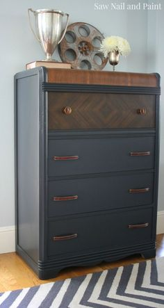Diy Crafts Ideas charcoal waterfall dresser side -Read More – Art Deco Furniture, Paint Furniture, Furniture Projects, Furniture Makeover, Vintage Furniture, Cool Furniture, Furniture Design, Furniture Stores, Wooden Furniture
