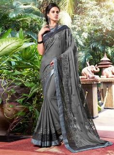 Buy Gray Chiffon Festival Wear Saree 127756 with blouse online at lowest price from vast collection of sarees at m.indianclothstore.c.
