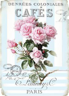 Vintage cafe blue roses digital collage P1022 FREE
