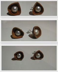jewel/ handmade/ earrings/ 925 silver, pearl, hazelnut