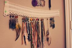This is such a simple DIY I didnt take photos of process. Basically, I had empty was space behind my door (that I couldn't put anything thicker than an inch deep), a bunch of beautiful lace that my Nanna gave me, and a desperate need for earrings racks for my growing collection. And this i