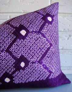 Purple Shibori Pillow Cover Geometric Hexagon by habitationBoheme