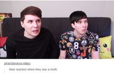 """Phil looks scared and dan is like """"NO, GO AWAY! U R THE CAUSE OF ALL EVIL!"""""""