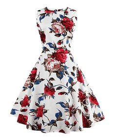 Another great find on #zulily! White Rose Fit & Flare Dress - Plus Too #zulilyfinds