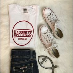 Happiness Boutique Tee Cute white tee with red graphics. 100% cotton. I have sizes Small, Medium and Large. They run a size small. Model is wearing a small. Boutique Tops Tees - Short Sleeve