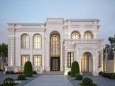 MR SARRY VILLA on Behance House Arch Design, House Outside Design, Bungalow House Design, Villa Design, Facade Design, Classic House Exterior, Classic House Design, Modern Exterior House Designs, Dream House Exterior