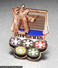 OLYMPIC PINS BADGE 2014 SOCHI RUSSIA SPORT ICE HOCKEY GOALIE SLIDER SLIDING BRZ