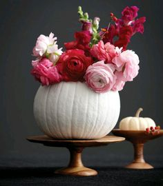 White Pumpkin And Pink Roses Autumn Table Centerpiece