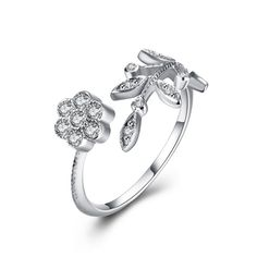 925 Sterling Silver Ring New Fashion with Flower and Leaves Each Side