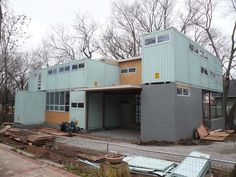 shipping container home under construction