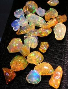 Mexican Fire Opals Minerals And Gemstones, Crystals Minerals, Rocks And Minerals, Stones And Crystals, Gem Stones, My Birthstone, Rocks And Gems, Opal Jewelry, Fire Opals