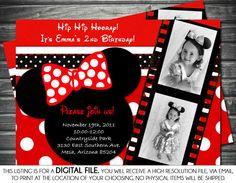 Minnie Mouse Inspired Girl Birthday Photo Invitation -  Red Polka Dot, Printable, Digital on Etsy, $14.73 AUD