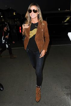 Heidi Klum's Suede Moto Jacket and Buckle Ankle Boots Look for Less (The Budget Babe) Cognac Boots Outfit, Brown Jacket Outfit, Black Work Outfit, Brown Suede Jacket, Suede Moto Jacket, Brown Leather, Leather Jacket, Moto Boots, Fall Outfits