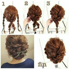 Adorable Twice Passed Chignon, Now this chignon may look tough to do, but it truly isn't. The secret is to have a firm hold on your hair and have your bobby pin prepared to end up the chignon after the pass. Complete the look with flowers or a bow. Up Dos For Medium Hair, Medium Hair Styles, Curly Hair Styles, Medium Hairs, Curly Updos For Medium Hair, Long Hair Updos, Updos For Medium Length Hair Tutorial, Curly Short, Fancy Hairstyles