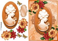 Beautiful Deep Orange Cameo With Dahlia s  on Craftsuprint designed by Amy Perry - beautiful deep orange cameo with dahlia's in lovely oval embossed effect frame with stunning flowers, also has decoupage and blank tag  - Now available for download!