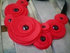 Bib necklace...flower necklace...felt...statement...Flower Swirl Necklace (red) on Etsy, $20.00
