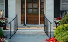 Stair Hand Rails for Porches and Decks Hand rails don't have to be perpendicular to your porch either! Curving wrought iron hand rails open up the entrance giving it a more spacious look. Wrought Iron Porch Railings, Porch Handrails, Exterior Handrail, Outdoor Stair Railing, Iron Handrails, Deck Stairs, Porch Steps, Front Steps, Door Steps