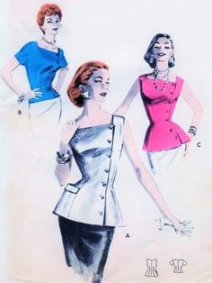 1950s High Fashion Over Blouse Pattern BUTTERICK 7588 Side Closing Regular or Tunic Length Blouse Classy Day or Evening Design Bust 32 Vintage Sewing Pattern Bust 32 Vintage Sewing Pattern FACTORY FOLDED