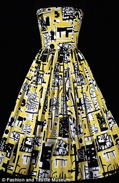 Dress designed by John Tullis for Horrockses Fashions, made from a textile designed by Eduardo Paolozzi.