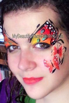 04275fc5e Butterfly face paint. Tag sunset split for butterflyes. Touch of Tag teal.  Details