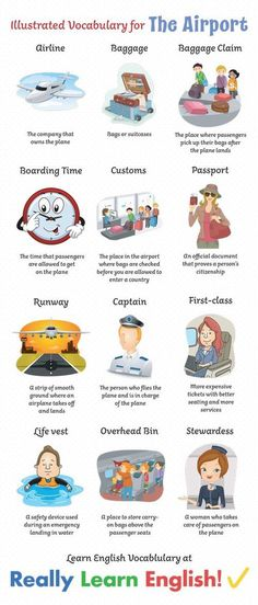 Illustrated Vocabulary for The Airport In this lesson, you will learn 45 English vocabulary words commonly heard at the airport and on the airplane. Read the explanation, understand the part of speech, and make sure you practice! English Vocabulary Words, English Phrases, English Words, English Grammar, Teaching English, English Language, English Games, English Class, English Lessons