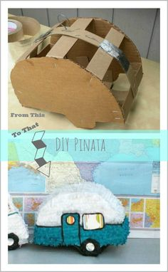 DIY Pinata :: Great for a Vintage Camper Party or Wedding - Wohnwagen Pinata Party, Diy Party, Ideas Party, Vintage Camper, Vintage Diy, Creation Deco, Valentine Box, Camping Crafts, First Birthdays