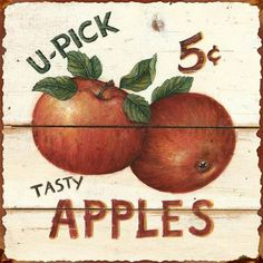 Tangletown Fine Art 'U-Pick Apples' by David Carter Brown Vintage Advertisement on Wrapped Canvas Frames On Wall, Framed Wall Art, Wall Décor, Brown Canvas Art, Brown Art, U Pick Apples, David Carter, The Barnyard, Tin Walls