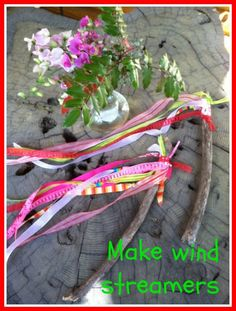 Make Wind Streamers Spring Preschool Activities: Ribbon & Fabric Scrap Wind Wand Twig Streamers. Forest School Activities, Nature Activities, Spring Activities, Toddler Activities, Outdoor Activities, Preschool Ideas, Family Activities, Weather Activities Preschool, Nursery Activities