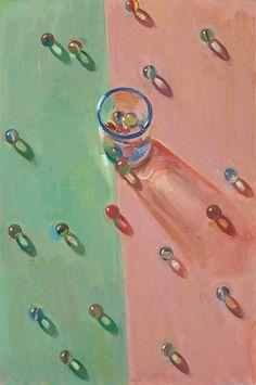 Marbles with Blue Rimmed Glass - Boyd Gavin Still Life Art, Book Cover Art, Light And Shadow, American Art, Pills, Art Boards, New Art, Light In The Dark, Art Interiors