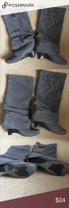 Naughty Monkey boots Charcoal grey naughty monkey boots. Sz 7.5 no stains, look great!  Will fit large and small calves. Shoes Heeled Boots