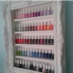 Nail polish rack featuring Essie Polish