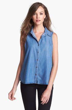 KUT from the Kloth Sleeveless Chambray Shirt | Nordstrom