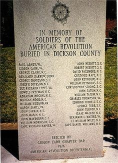 American Revolution Soldiers Dickson Co., Tennessee Gideon Carr.jpg