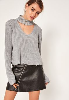 Go for this lust-worthy grey cropped jumper with on trend choker neck feature.