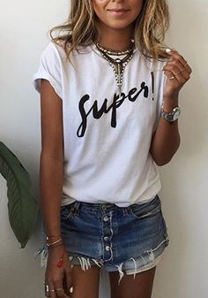 White Letter Pattern Round Neck Casual Cotton T-Shirt
