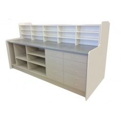 Pharmacy dispensary unit - made to measure pharmacy counter with open stortage - extending draws - Let us create the perfect pharmacy display for your exact requirements! #pharmacy #pharmacyunit #pharmacdisplay #pharmacycupboard