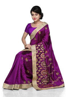 Violet Art Silk Saree with Blouse: SAFA93