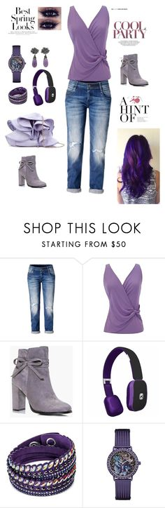 """""""Purple Tops"""" by polyyvor ❤ liked on Polyvore featuring Armani Collezioni, Boohoo, iHome, Swarovski, GUESS, Arunashi and H&M"""