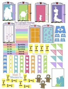 Monster's Inc. Disney Pixar Free Weekly Planner stickers.  Created to fit an Erin Condren Life Planner