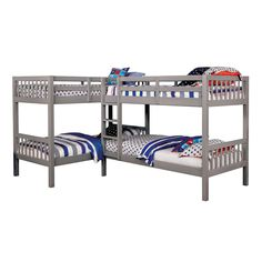 Twin Fritz Kids Bunk Bed Quadruple Bunk Bed Gray - Homes: Inside + Out Safe Bunk Beds, Bunk Bed With Trundle, Twin Bunk Beds, Kids Bunk Beds, Twin Twin, Loft Spaces, Storage Spaces, Living Spaces, Wooden Bunk Beds