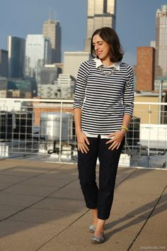 Striped tee, white collared shirt, navy lace ankle pants