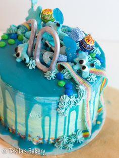 Merellinen drip cake, erehdyksien kautta onnistunut kakku! - Tekila's Bakery